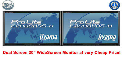 Cheap 2 X 20 INCH LCD GAMING WIDESCREEN iiyama E2008 HDS FAST RESPONSE NO STAND
