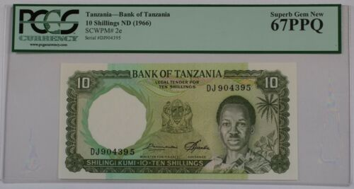 (1966) Bank of Tanzania 10 Schillings Note SCWPM# 2e PCGS 67 PPQ Superb Gem New