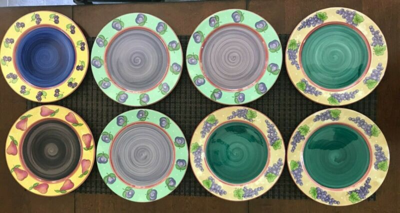 8 Tutti Frutti Dinner Plates by Heather Outlaw Kurpis for the Essex Collection