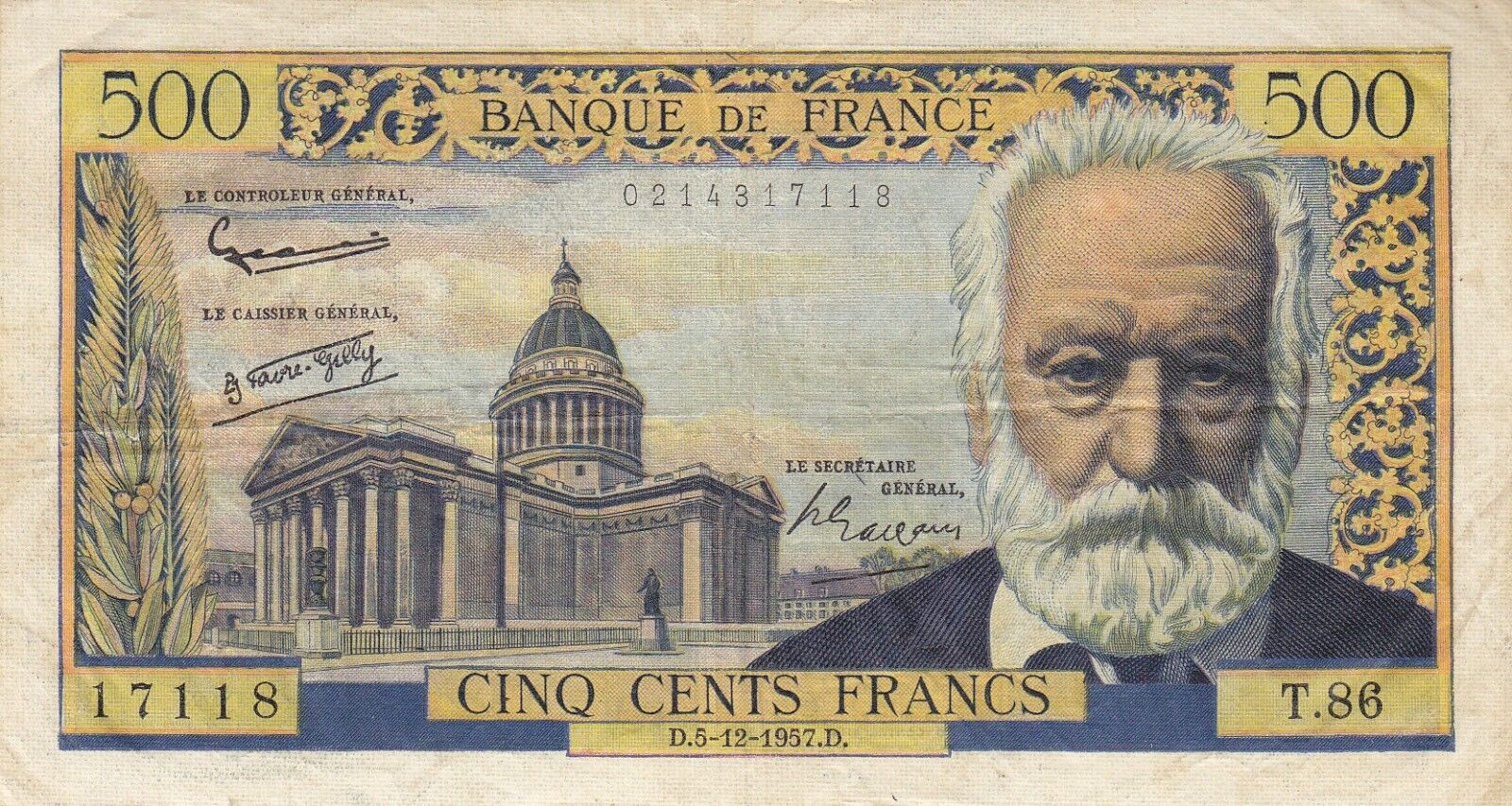 RECTO 500 francs Type 1953 Victor Hugo - None