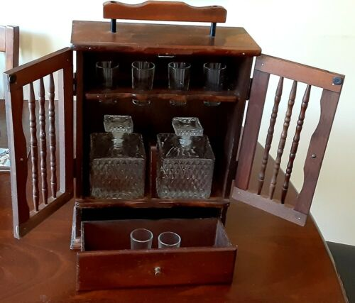Vintage Wooden Mini Bar Cabinet With 2 Glass Decanters & 6 Shot Glasses