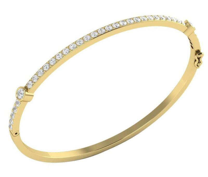 Bangle Bracelet Natural Diamond I1 G 1.45 Ct 14K Gold Prong Bezel Set 2.40 Inch