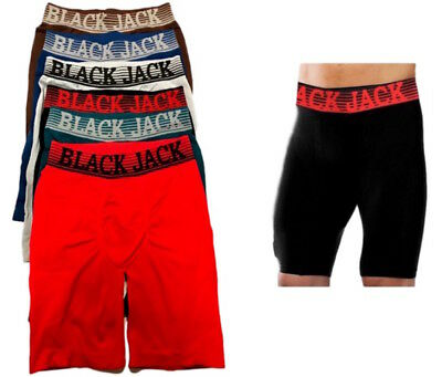 6 Mens Authentic Blackjack Boxer Briefs Breathable Long Leg Athletic  951Bj