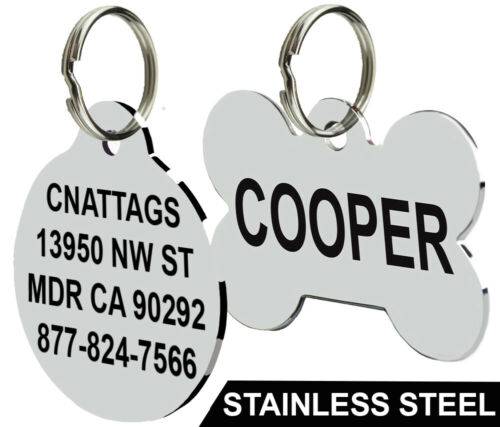 Stainless Steel Pet ID Tags Dog Tags Personalized Front and Back Engraving