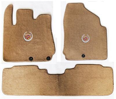NEW! 2004 - 2009 Cadillac SRX Tan Carpet Floor Mats 3pc Official Crest Logo RWD