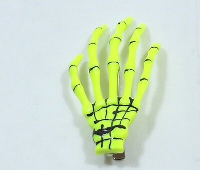 Spooky Halloween Clips (Pair of Skeleton Hand Hair Clip Yellow Halloween Costume Spooky Creepy)