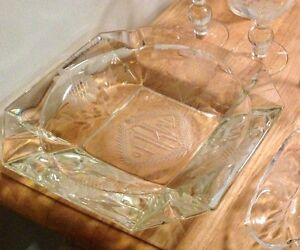 set of 3 different Cornflower crystal glass ash trays