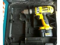 Dewalt 12volt cordless drill comes with charger and two batteries