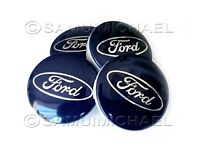 4 x BLUE FORD ALLOY WHEEL CENTRE CAPS 54MM - FOCUS/MONDEO/FIESTA/KA & OTHERS