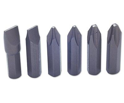 "(PACK OF 6) Laser Impact Screwdriver Bits 8mm (5/16"") Shank PH2 PH3 Slotted Set"
