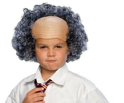 Mad Scientist Halloween Costume Girl (Funny Bald Man Wig Mad Scientist Curly Hair Sides Children's Costume)