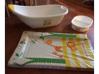 Baby bath, top and tail bowl and matching changing mat