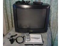 "SHARP 21""INCH TV TELEVISION SET WITH OPTIONAL FREEVIEW DIGITAL BOX TWIN SCART"