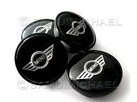 4 x MINI COOER ALLOY WHEEL CENTRE CAPS 54mm BLACK/CHROME COOPER WINGS LOGO