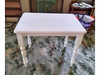 Small Solid Pine Table - Wood Wooden Living Dining Room Kitchen Lounge Bedroom Furniture White Pink