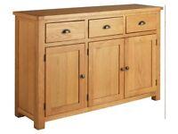 EX DISPLAY Argos Home Kent 3 Door 3 Drawer Oak & Oak Veneer Sideboard