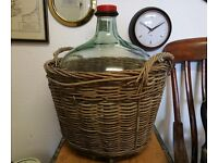 Extra Large Glass Carboy Clear Bottle in Wicker Basket Vintage