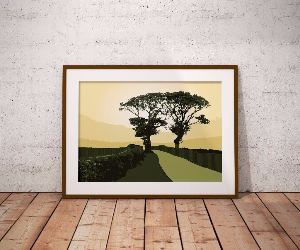 Art print of 'Kissing Trees' near Kinghorn, Fife