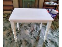 Small Solid Pine Table and 2 Two Chairs Wood Wooden Living Dining Room Kitchen Furniture White Pink