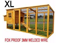 New XL 8ft chicken house & run flat packed