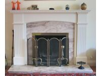 Adam Style Painted Wood Fire Surround with Rose Veined Marble Insert and Hearth