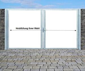 Einfahrtstor Verzinkt Garten Holz-Tor quer Asymmetrisch 2-Flügeltor 500cmx180cm