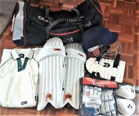 CRICKET KIT- pads, helmet, gloves, protectors, bag, whites, Youth Right Handed