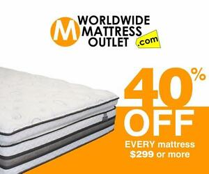 40% off EVERY MATTRESS $299 and over!!!