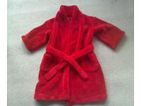 Child's Red Dressing Gown Age 2-3