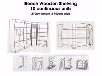 Beech Wooden Shelving 10 continuous units, 210cm height x 100cm wide