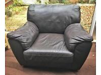 Brown Faux-Leather Armchair