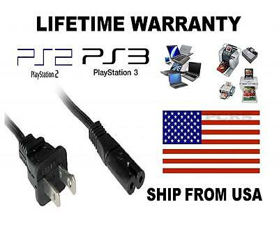 US 2-Prong Port AC Power Cord 6' Cable for PS2 PS3 Slim PS4 Laptops Printers 6 Ps2 Cable
