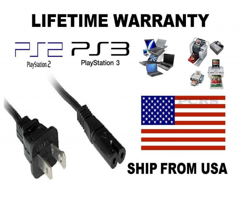 US 2-Prong Port AC Power Cord 6' Cable for PS2 PS3 Slim PS4 Laptops Printers