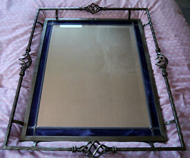 Metal framed bevelled wall mirror 34 x 28in, cost £200 from John Lewis
