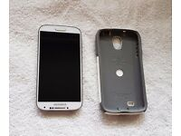 Samsung Galaxy S4 in White with White Otter Box Case and fitted screen protector