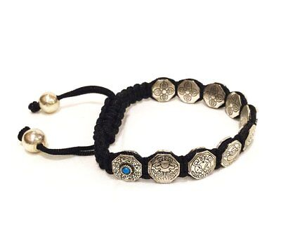 FAIR TRADE UNIQUE SILVERY 8 AUSPICIOUS LUCKY SYMBOLS ADJUSTABLE BRACELET NEPAL