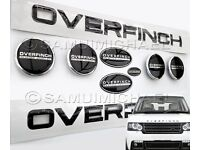 'OVERFINCH' RANGE ROVER BLACK MAKE OVER KIT 9 PIECES: Badges/Lettering/Wheel Cap