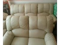 genuine leather reclining settee
