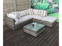 Homeflair Rattan Garden Furniture Savannah Nature Brown Corner Sofa + Dining table + Stool set £549