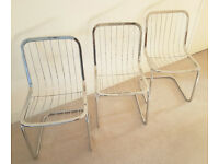 Set of 3 Rare 1960s Italian Designer Vintage Chrome Chairs Superb! Furniture / Kitchen / Living Room
