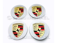 4 x PORSCHE WHEEL CENTRE CAPS SILVER WITH GOLD CREST 77mm BRAND NEW