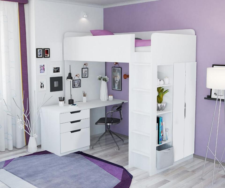 Polini Kids Hochbett Jugendbett Kinderzimmer Schreibtisch 5 in 1