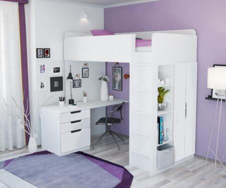 Polini Kids Hochbett Jugendbett Kinderzimmer Schreibtisch 5 In 1 In