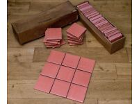 Salmon Pink Marlborough Ceramic Wall or Floor tiles 11cm square x 1cm thick x 67