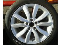"1 X GENUINE OEM AUDI A3 8P 17"" ALLOY WHEEL & 225/45/17 TYRE 8P0601025BK"
