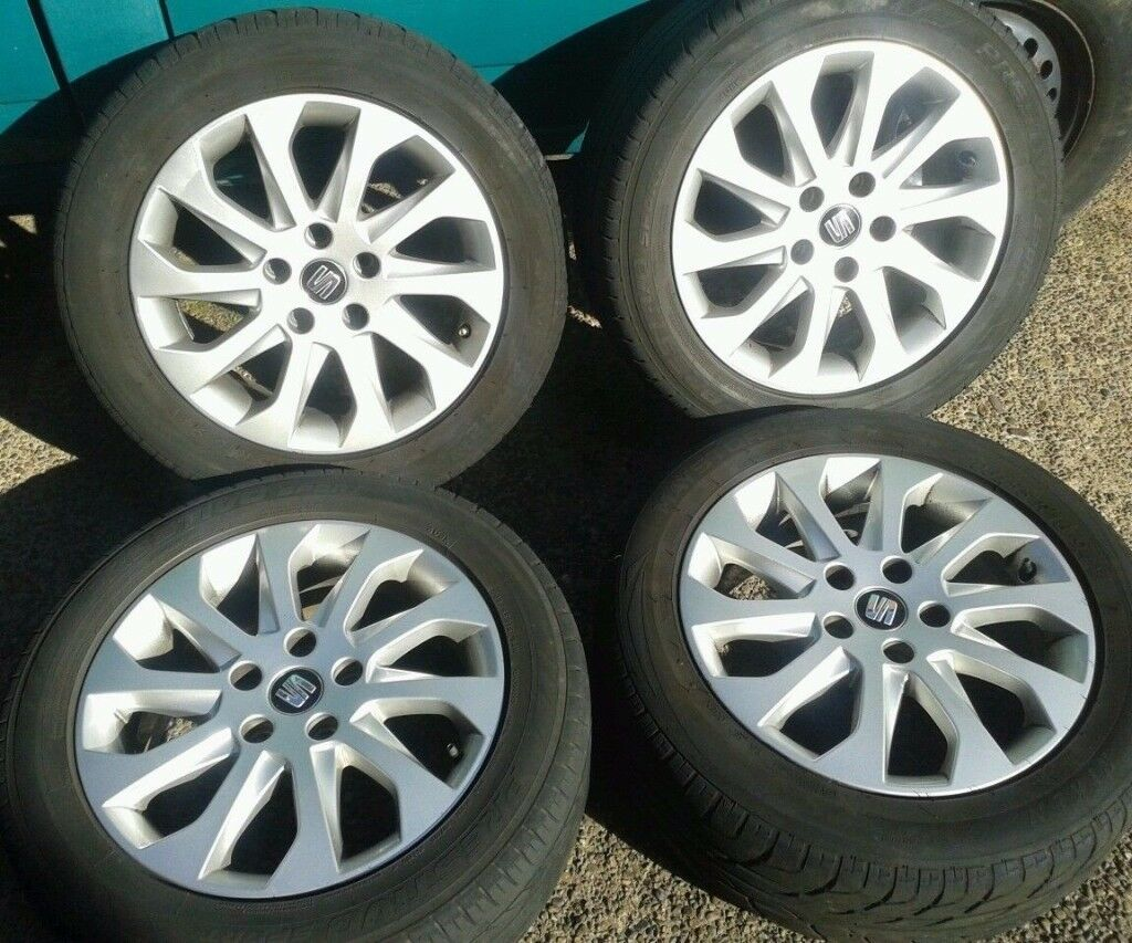 "GENUINE SEAT LEON ALTEA EXEO 16"" ALLOYS & 205/55/16 TYRES 5X112PCD 5F0601025A VW CADDY GOLF TOURAN"