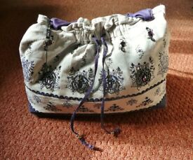 Ladies / Womens M&Co Blue Cream Fabric Purple Silver Grey Beaded Floral Tote Shopping Beach Bag