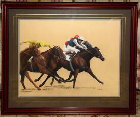 """Original pastel picture of a driving finish to a flat horse race, """"Handicapper's Dream"""""""