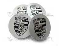 SET OF 4 x PORSCHE WHEEL CENTRE CAPS GLOSS SILVER WITH BLACK CREST 77mm BRAND NEW