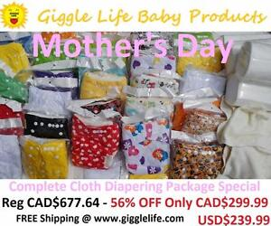 Giggle Life Mother's Day Cloth Diapers Package Sale Reuseable Baby 7-36lbs Adjustable Microfiber Suede Bamboo Adult